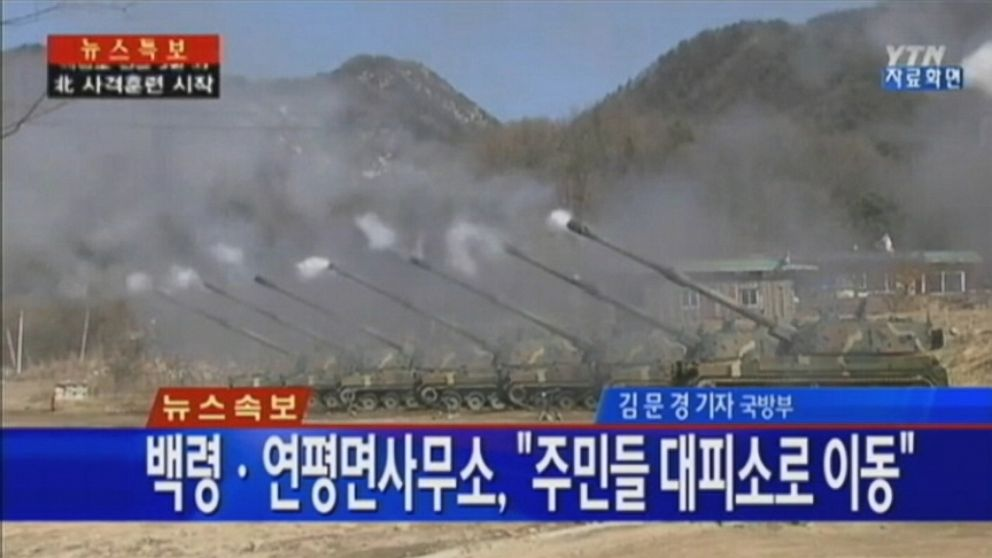 VIDEO: South Korea officials say that hundreds of artillery shells were fired into the Yellow Sea.