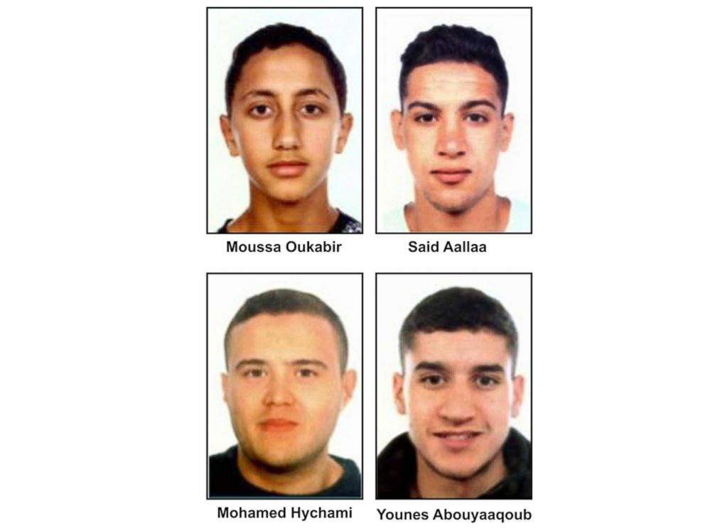 PHOTO: Suspects in the Barcelona attacks, from left, Moussa Oukabir, the suspected driver, as well as Said Aallaa, Mohamed Hychami and Younes Abauyaaqoub.