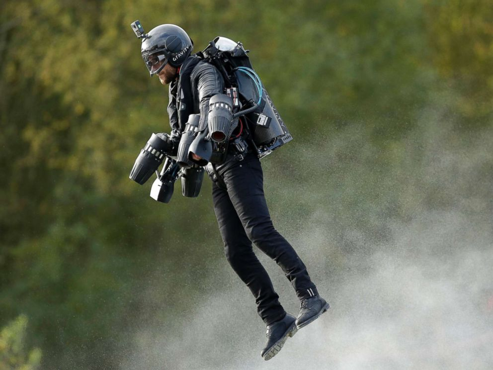 PHOTO: A British inventor, Richard Browning, billed as a real-life version of the superhero Iron Man, sets the Guinness World Record for the fastest speed in a body-controlled jet engine power suit, at Lagoona Park in Reading, England, Nov. 9, 2017.