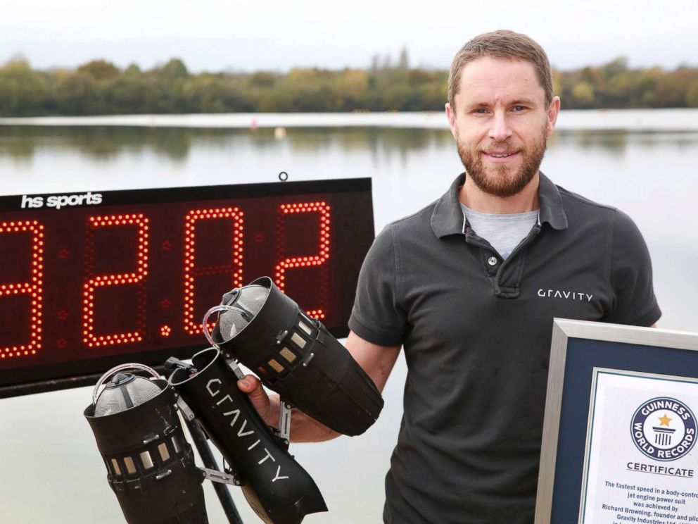 PHOTO: Richard Browning poses for the media after setting the Guinness World Record for the fastest speed in a body-controlled jet engine power suit, at Lagoona Park in Reading, England, Nov. 9, 2017.