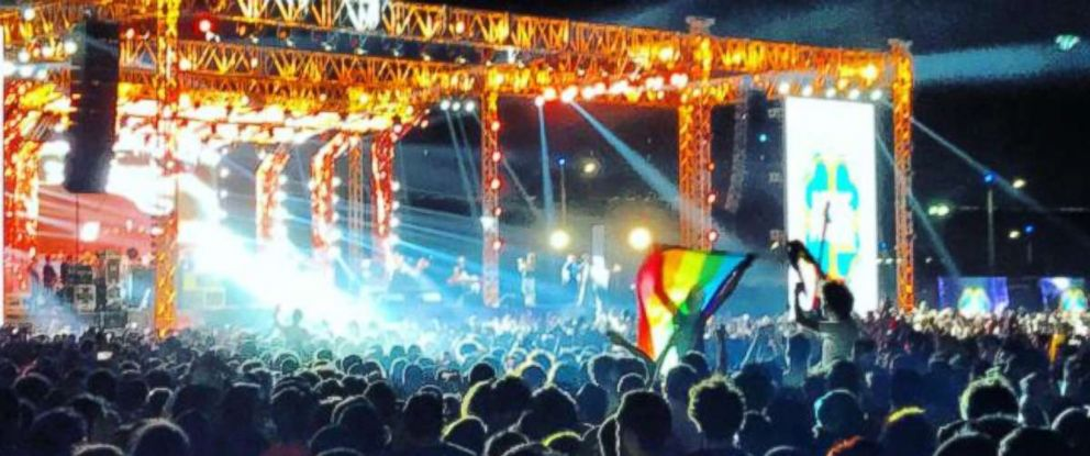 PHOTO: Fans of the Lebanese group Mashrou Leila show a a rainbow flag at a concert in Cairo, Egypt, Sept. 22, 2017.
