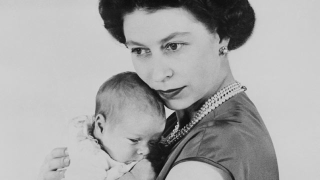 PHOTO: Queen Elizabeth is shown with her new son, Prince Andrew Albert Christian Edward, March 25, 1960, in London.