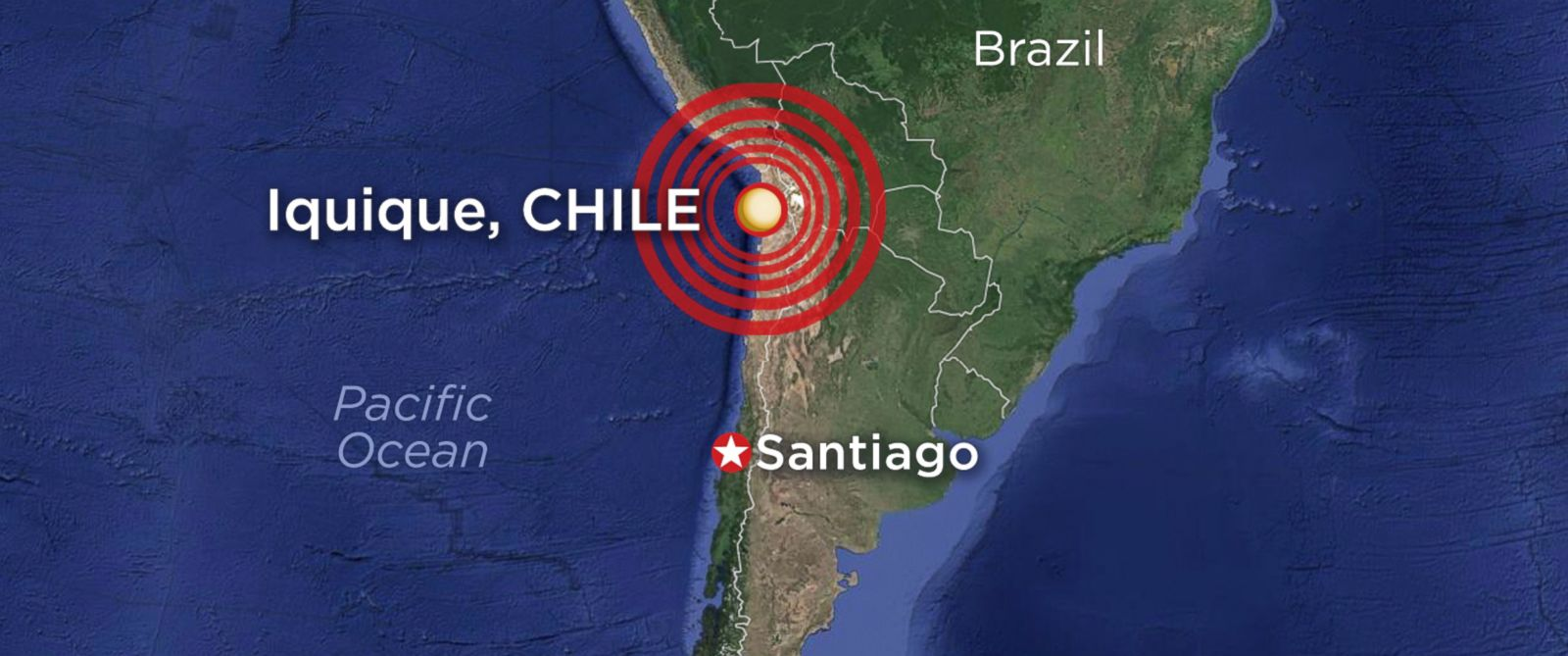 PHOTO: A map of the Pacific coast of Chile, where an earthquake struck on April 1, 2014.