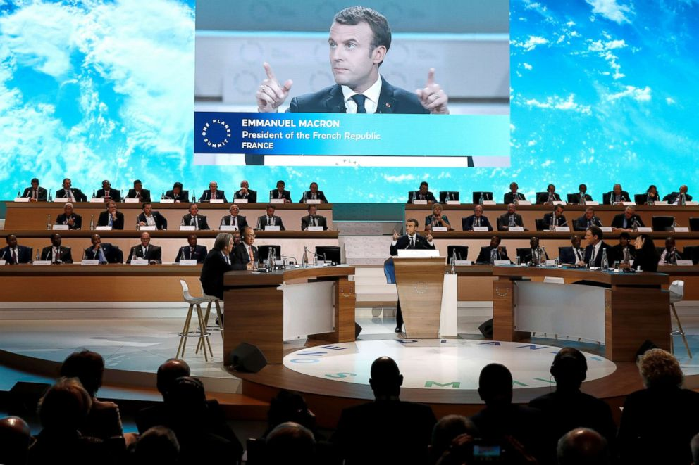 PHOTO: French President Emmanuel Macron hosts 50 world leaders for the One Planet Summit, hoping to jump-start the transition to a greener economy two years after the historic Paris agreement to limit climate change in Paris, Dec. 12, 2017.