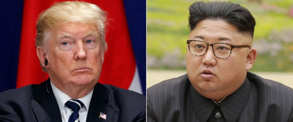 PHOTO: President Donald Trump in New York City, Sept. 21, 2017.   North Korean leader Kim Jong Un, Sept. 3, 2017.