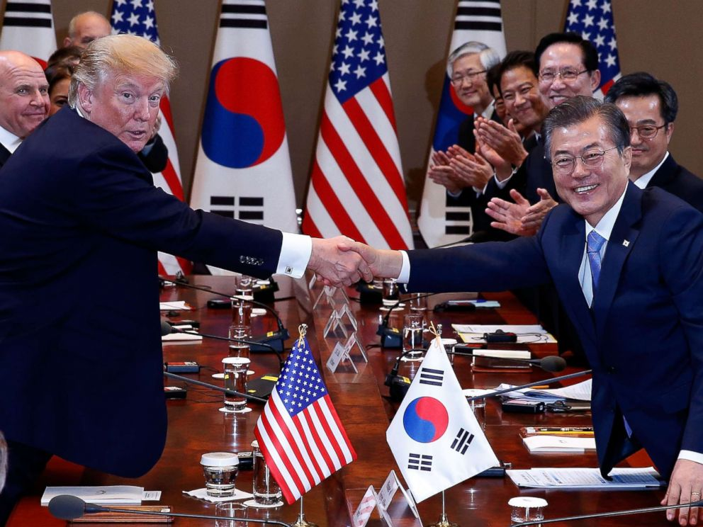 PHOTO: South Korean President Moon Jae-In shakes hands with President Donald Trump during their summit at the presidential Blue House, Nov. 7, 2017 in Seoul, South Korea.