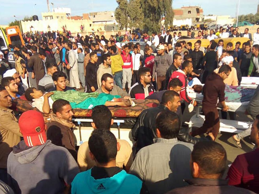 PHOTO: Injured people are evacuated from the scene of a militant attack on a mosque in Bir al-Abd in the northern Sinai Peninsula of Egypt, Nov. 24, 2017.