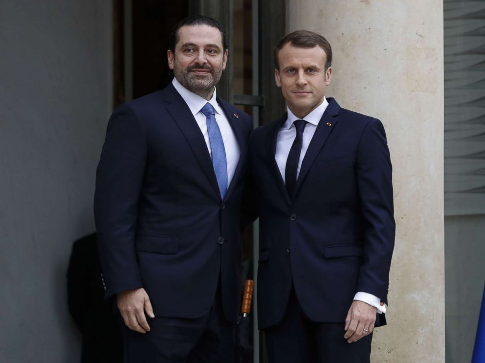 PHOTO: French President Emmanuel Macron welcomes Lebanese Prime Minister Saad Hariri at the Elysee Presidential Palace, Nov. 18, 2017 in Paris.