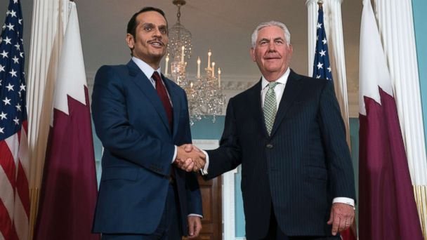 PHOTO: Secretary of State Rex Tillerson shakes hands with Qatari Foreign Minister Sheikh Mohammed bin Abdulrahman Al Thani prior to a meeting at the State Department in Washington, D.C., June 27, 2017.