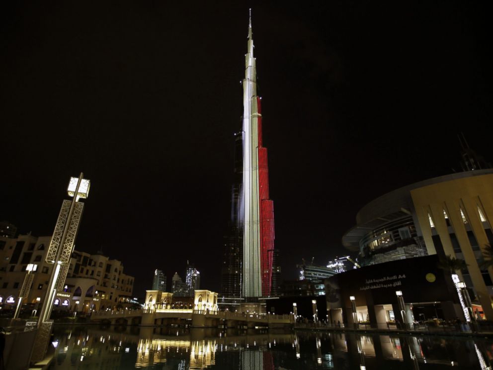 PHOTO: The Burj Khalifa in Dubak, United Arab Emirates, is illuminated in the colours of the Belgian flag to show solidarity after the terrorist operations in Brussels, March 22, 2016.