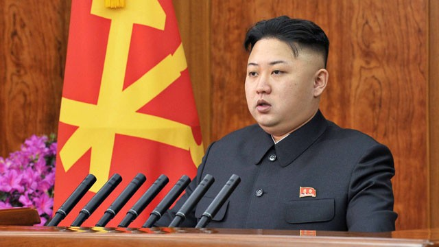 PHOTO: North Korean leader Kim Jong Un delivers a New Year's Day address in Pyongyang, North Korea.