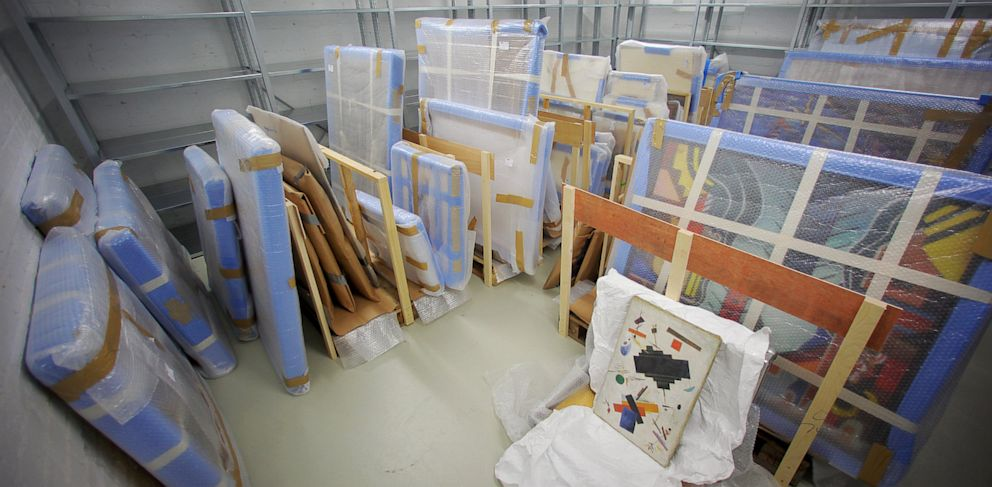 PHOTO: Confiscated paintings sit in a room in the basement of theFederal Criminal Police Office (BKA)in Wiesbaden,Germany, June 13, 2013.