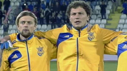 Watch: Ukraine's Soccer Team Stands Arm-in-Arm for National Anthem