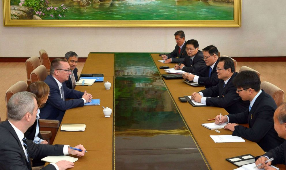 PHOTO: UN under-secretary-general Jeffrey Feltman (3rd L) and North Korean Vice Minister of Foreign Affairs Pak Myong Guk (3rd R) engage in talks in Pyongyang, Dec. 6, 2017.