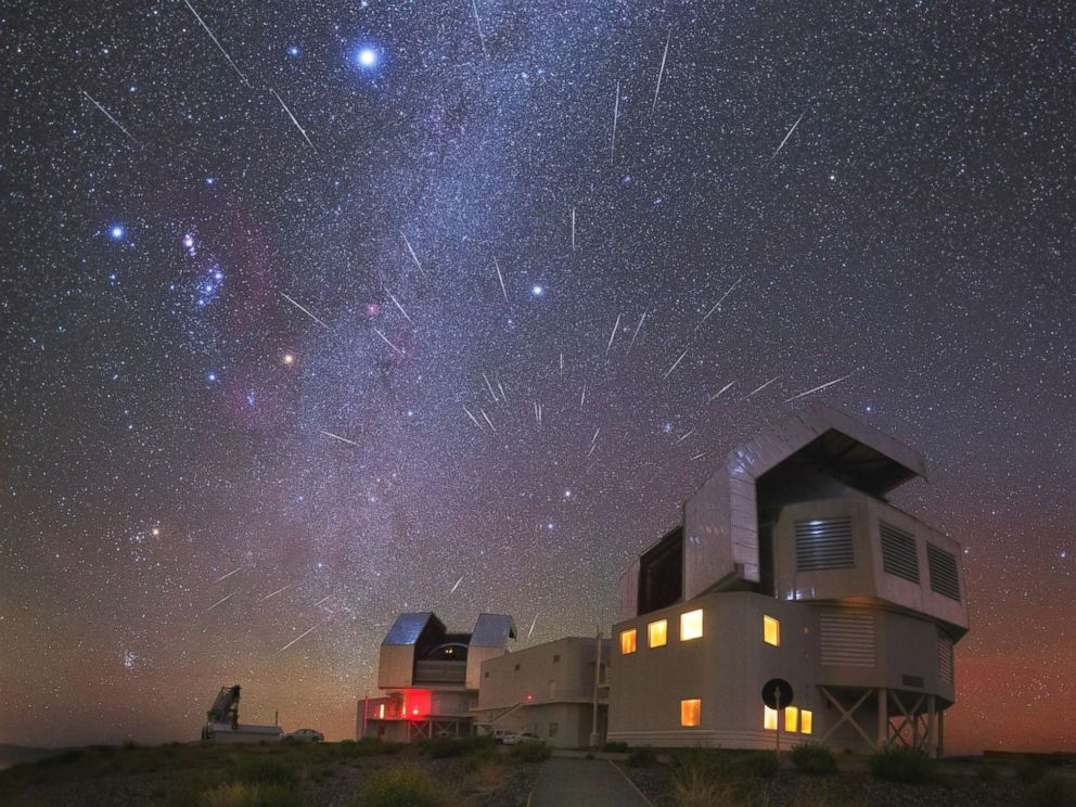 PHOTO: The radiant Geminid meteor shower over the Carnegie Las Campanas observatory, near the Atacama desert in Chile, Dec. 14, 2015. The Milky Way and bright stars, Rigel in Orion constellation, and Sirius in Canis Major constellation, shine brightly.