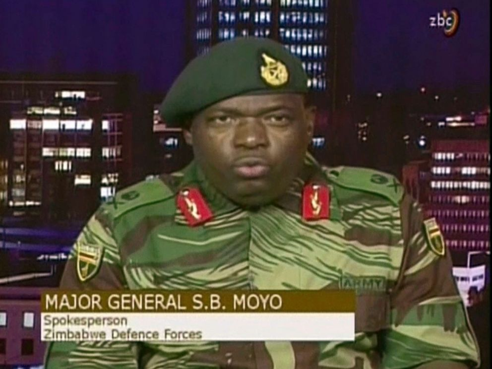 PHOTO: Major Gen. S.B. Moyo, Spokesperson for the Zimbabwe Defense Forces addresses to the nation in Harare, Zimbabwe, Nov. 15, 2017.