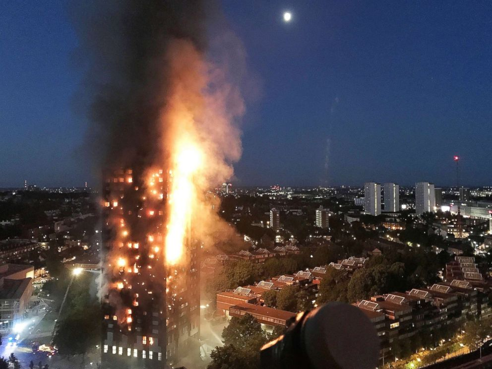 PHOTO: A huge fire engulfs the 24 story Grenfell Tower in Latimer Road, West London in the early hours of this morning on June 14, 2017 in London.