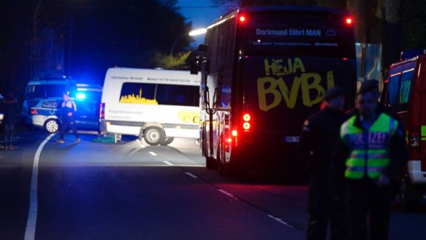 PHOTO: The bus of Borussia Dortmund was damaged by explosion prior to the UEFA Champions League 1st leg quarter-final football match BVB Borussia Dortmund v Monaco in Dortmund, western Germany, April 11, 2017.