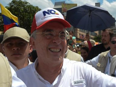 PHOTO: Former Colombian president and current senator Alvaro Uribe leads a march of his supporters against the goverment of Juan Manuel Santos and the peace agreement with the FARC rebels, in Medellin, Antioquia department, Colombia, April 1, 2017.