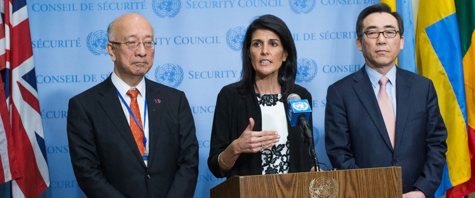 PHOTO: Permanent Representative to the United Nations Ambassador Nikki Haley (C) speaks to the media about North Koreas recent missile launches, March 8, 2017, at United Nations headquarters in New York.