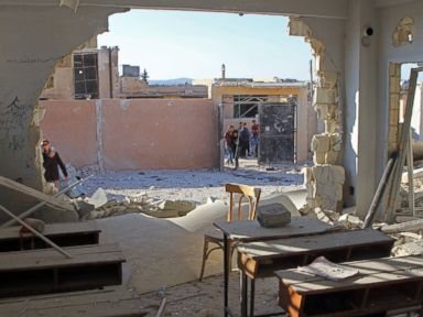 PHOTO: A general view shows a damaged classroom at a school after it was hit in an air strike in the village of Hass, in the south of Syrias rebel-held Idlib province on Oct. 26, 2016.