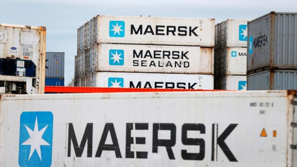 PHOTO: A picture taken on March 29, 2017 shows containers of shipping company Maersk at the docks at Le Havre's harbour, in Le Havre, northwestern France.
