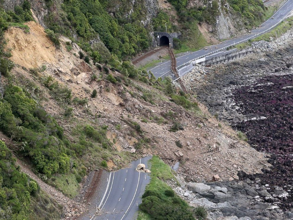 PHOTO: Earthquake damage to State Highway One near Ohau Point on the South Islands east coast and the train tracks that run along side it, on Nov. 14, 2016.