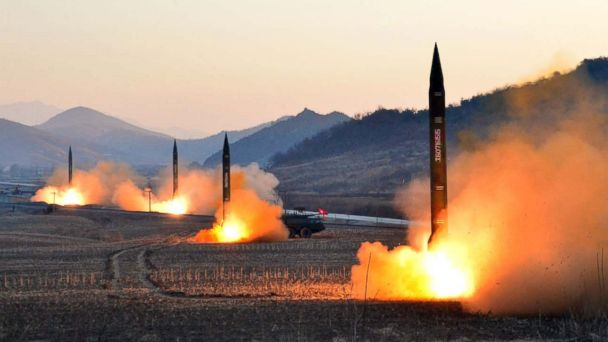 PHOTO: An undated picture released by North Korea's Korean Central News Agency on March 7, 2017 shows the launch of four ballistic missiles by the Korean People's Army during a military drill at an undisclosed location in North Korea.