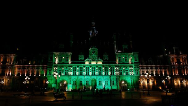 PHOTO: The City Hall of Paris is illuminated in green following President Donald Trump's announcement that the United States will withdraw from the 2015 Paris Climate Accord and try to negotiate a new global deal on climate change, June 1, 2017.