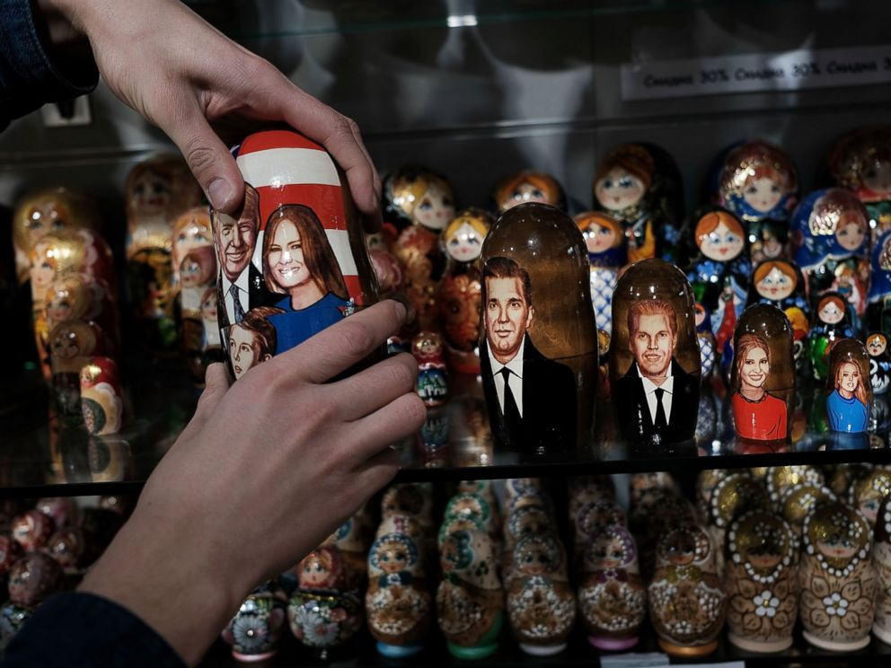 PHOTO: A traditional Russian nesting doll painted with the likeness of President of Donald Trump and his family is displayed for sale at a store on March 5, 2017 in Moscow, Russia.
