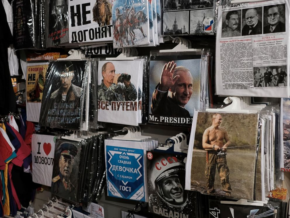 PHOTO: T-shirts with pictures of Russian President Vladimir Putin are displayed for sale at a store in Moscow, March 5, 2017.