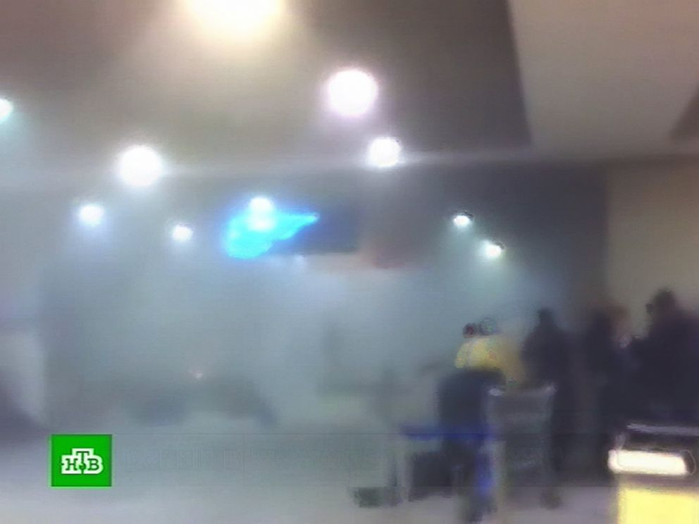 PHOTO: A TV grab taken from Russian TV channel NTV shows a smoke-filled area near the blast site at Moscows Domodedovo international airport, Jan. 24, 2011, shortly after an explosion.