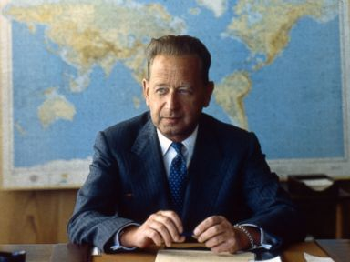 PHOTO: Dag Hammarskjold is seen in a 1957 file photo.