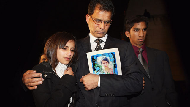 PHOTO: The daughter Lisha, husband Ben Barboza and son Junal of nurse Jacinta Saldanha arrive at the Houses of Parliament ahead of a meeting with MP Keith Vaz, Dec. 10, 2012 in London.