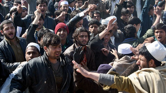 PHOTO: Afghan demonstrators shout anti US-slogans during a protest against Koran desecration in Kunduz, Afghanistan, Feb. 25, 2012.