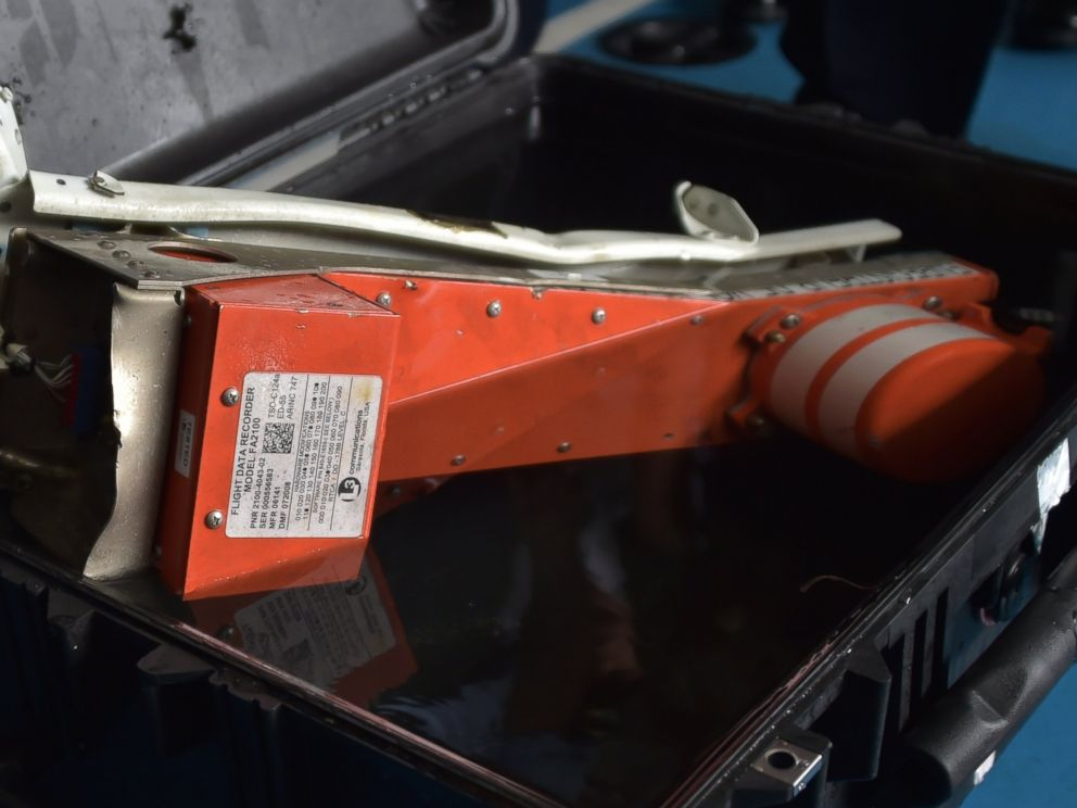 PHOTO: This picture taken onboard Indonesian navy vessel KRI Banda Aceh shows the Flight Data Recorder of the AirAsia flight QZ8501 after it was retrieved from the Java Sea on Jan. 12, 2015.