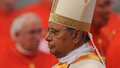 PHOTO: Albert Malcolm Ranjith Patabendige Don from Sri Lanka arrives for the Eucharistic celebration with the new cardinals where they will receive their ring from Pope benedict XVI, November 2010, at St Peter's basilica at The Vatican.