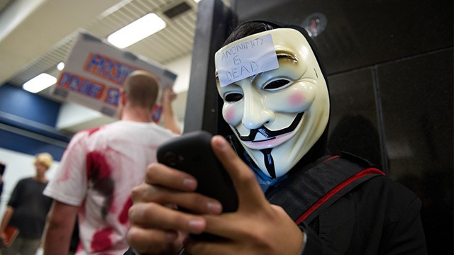PHOTO: Anonymous hacker wearing Guy Fawkes mask