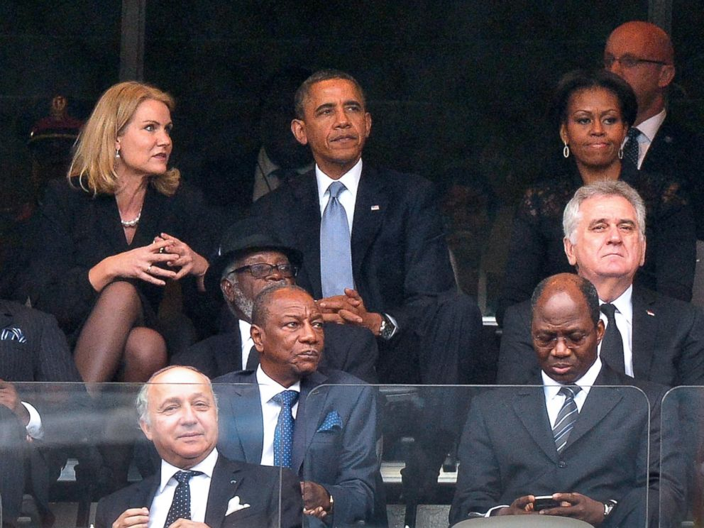 PHOTO: Danish Prime Minister Helle Thorning-Schmidt, US President Barack Obama and First Lady Michelle Obama attend the memorial service for Nelson Mandela at Soccer City Stadium in Johannesburg, Dec. 10, 2013.
