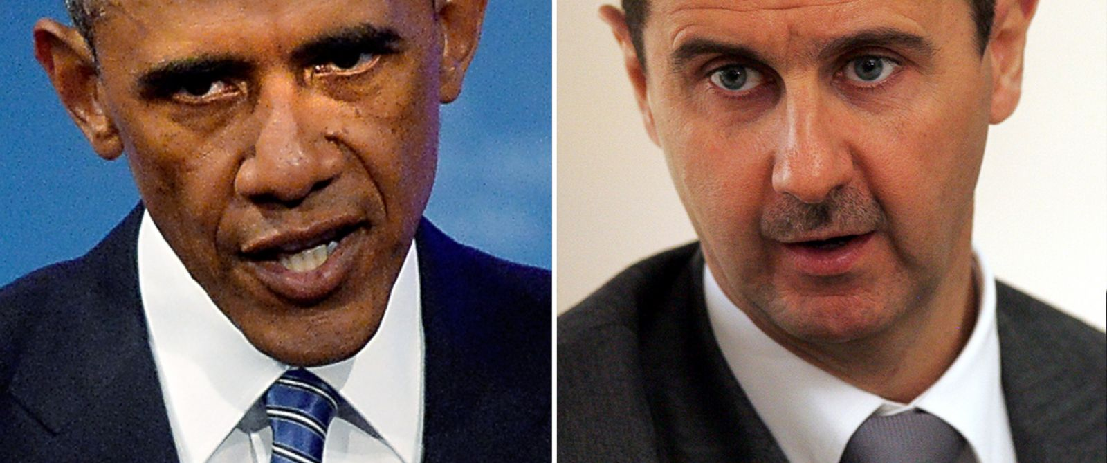 PHOTO: Barack Obama speaks in North Carolina on Aug. 26, 2014 and Syrian President Bashar Assad is pictured in Damascus, Syria on May 10, 2010.