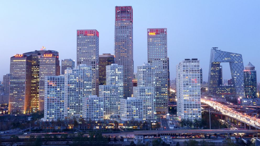 PHOTO: A general view shows the skyline of a central business district in Beijing on November 27, 2013.