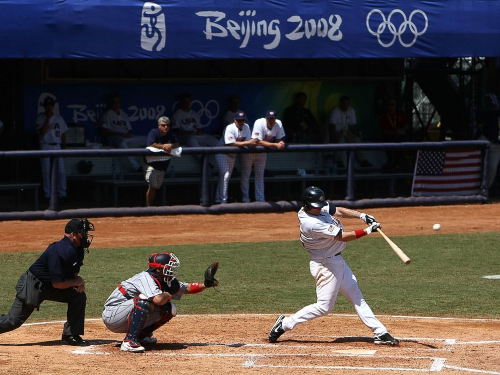 PHOTO: Jason Donald of the United States bats against Japan during the mens bronze medal baseball game held at Wukesong Baseball Field at the Beijing Olympic Games on Aug. 23, 2008 in China.