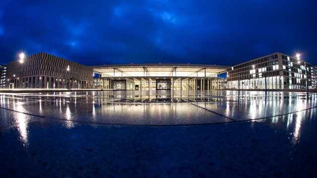 PHOTO: The terminal building of the new &quot;Willy Brandt&quot; Berlin Brandenburg International (BER) airport is pictured at dawn, Jan. 10, 2013.