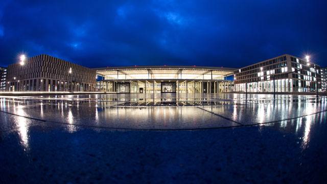 "PHOTO: The terminal building of the new ""Willy Brandt"" Berlin Brandenburg International (BER) airport is pictured at dawn, Jan. 10, 2013."