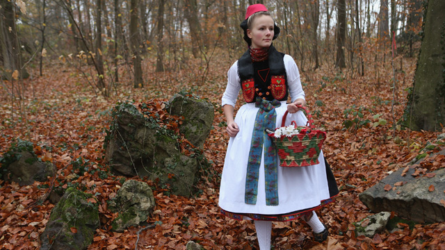 PHOTO: Dorothee Weppler as Little Red Riding Hood wears the local Schwalm region folk dress with its red cap as she walks through a forest on the estate of Baron von Schwaerzel on November 20, 2012 in Willingshausen, Germany.