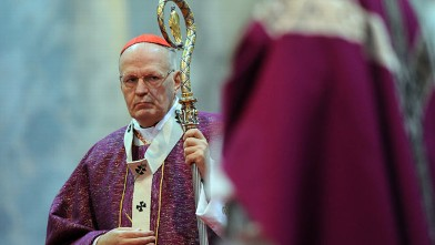 PHOTO: Archbishop of Esztergom-Budapest, Hungarian Peter Erdo is pictured in the major Hungarian church, the Esztergom Basilica at the beginning of Lent, Feb. 13, 2013, during an evening mass for Ash Wednesday, in Esztergom, Hungary.