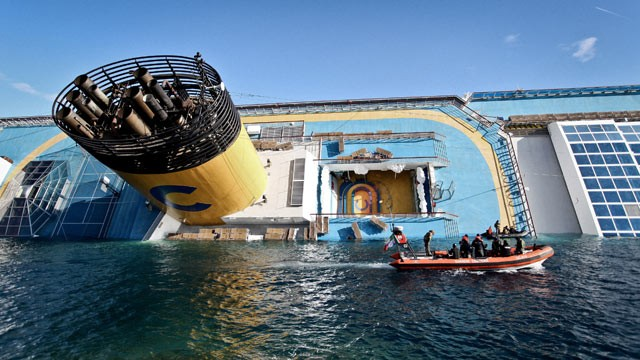 PHOTO: The cruise ship Costa Concordia lies stricken off the shore of the island of Giglio, Jan. 15, 2012 in Giglio Porto, Italy.
