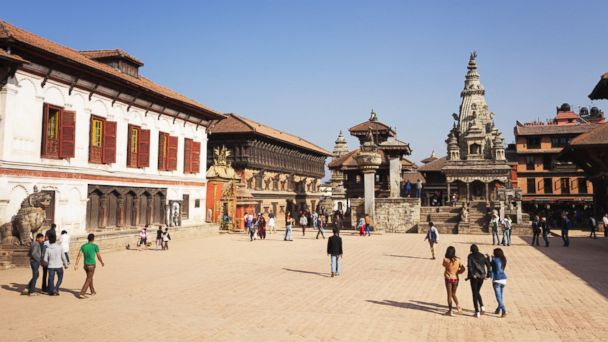 People visit the old royal palace at Basantapur Durbar square, Kathmandu, Nepal.