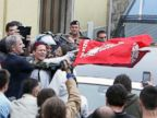 PHOTO: People protest as the hearse with the body of Nazi war criminal Erich Priebke arrives at the church of Lefebvriani, Oct. 15, 2013, in Albano Laziale, Italy.