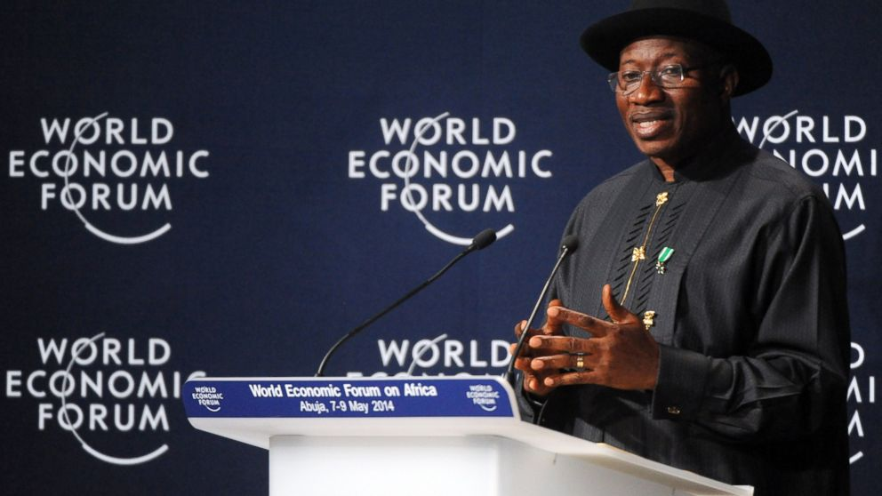 PHOTO: Nigerian President Goodluck Jonathan speaks at the opening session at the World Economic Forum in Abuja, Nigeria, May 8, 2014.